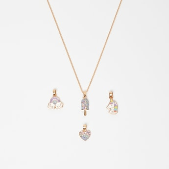 Embellished 4-Piece Pendants and Necklace Set