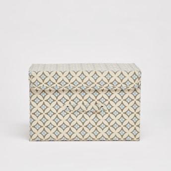 صندوق تخزين بطبعات وخطّاف وحلقة إغلاق - 38x25x25 سم