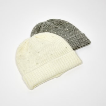 Set of 2 - Solid Beanie Caps with Embellishment Detail