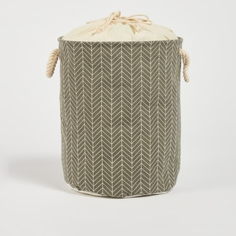 Printed Laundry Hamper with Drawstring Closure - 49x38 cms