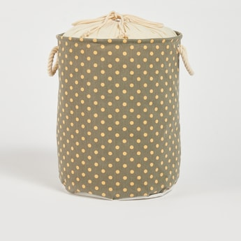 Polka Dot Printed Laundry Basket with Drawstring Closure - 49x38 cms