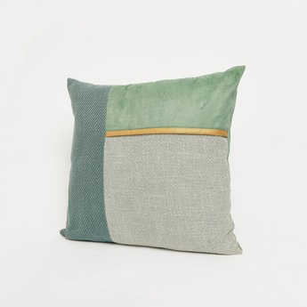 Panelled Filled Cushion with Zipper Closure - 45x45 cms