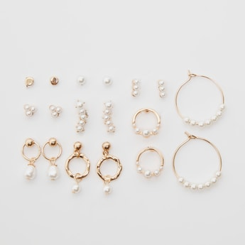 Set of 9 - Pearl Detail Earrings