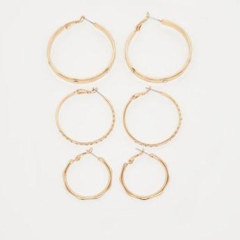 Pack of 3 - Studded Hoop Earrings with Hinge Snap Closure
