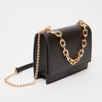 Solid Crossbody Bag with Chain-Link Strap