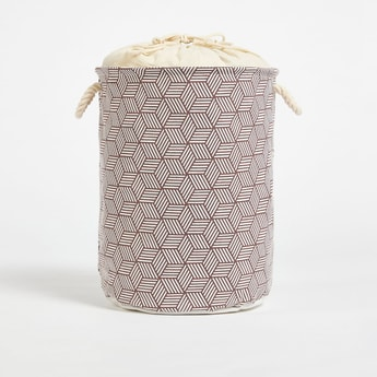 Geometric Print Laundry Hamper with Drawstring Closure - 49x38 cms