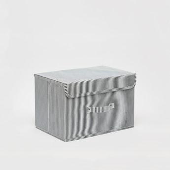 صندوق تخزين مستطيل مخطّط بمقبض - 38x25x25 سم