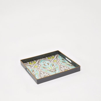 Printed Rectangular Serving Tray with Cutout Handles - 35x35x2 cms