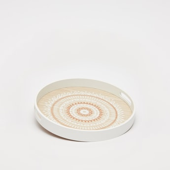Printed Round Serving Tray with Cut-Out Handle - 35x4 cms