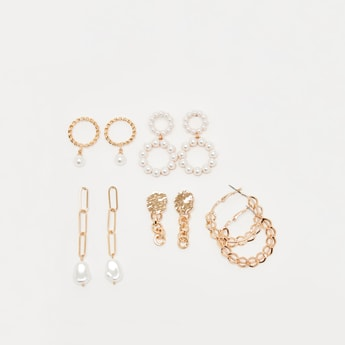 Set of 5 - Assorted Metallic Earrings with Pushback Closure