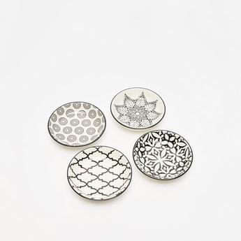 طقم أطباق دائرية بطبعات - من 4 قطع