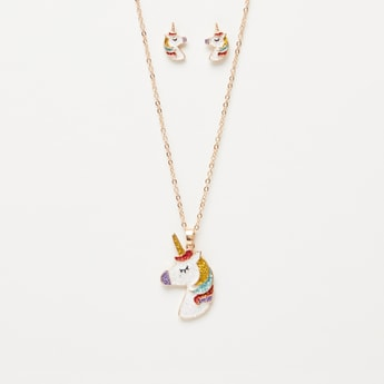 Embellished Unicorn Necklace and Stud Earrings Set