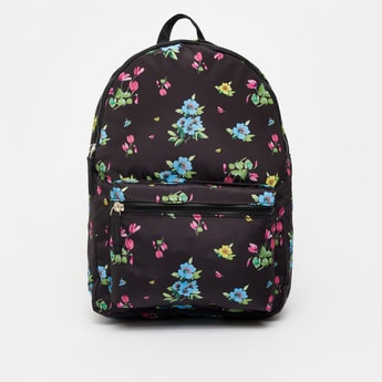 Floral Print Backpack with Zip Closure and Adjustable Straps