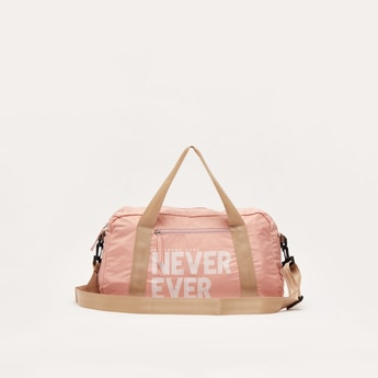 Printed Duffle Bag with Zip Closure and Detachable Strap