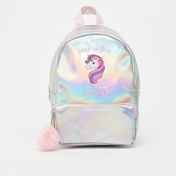 Unicorn Print Backpack with Pom Pom Applique Detail