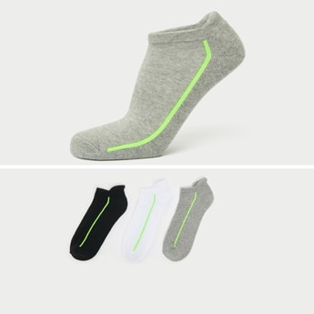Textured Ankle Length Socks with Cuffed Hem - Pack of 3