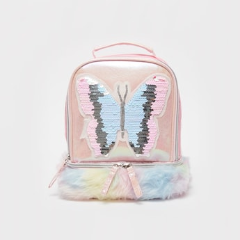 Butterfly Embellished Backpack Bag with Fur Detail and Top Handle