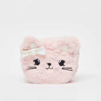 Embroidered Plush Crossbody Bag with Bow Applique