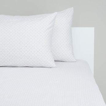 Printed King Fitted Sheet with Elasticised Hem - 200x180 cms