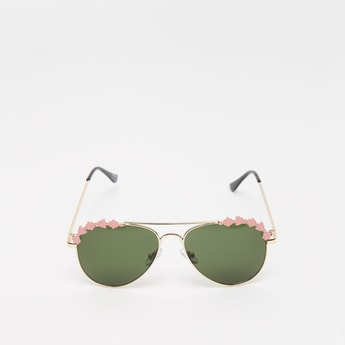 Tinted Sunglasses with Nose Pads and Floral Accent