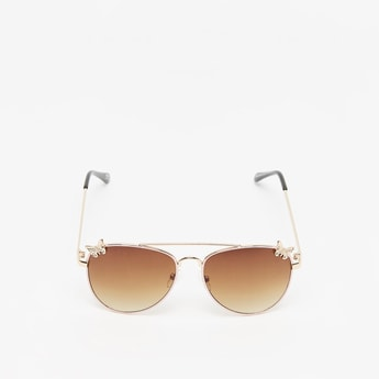 Tinted Sunglasses with Nose Pads and Butterfly Accent