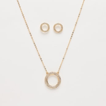 Necklace with Stone Studded Round Pendant and Earrings Set