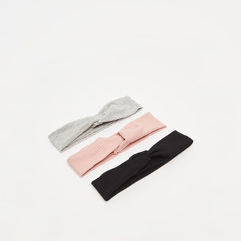 Set of 3 - Ribbed Fabric Hairband with Twisted Knot Detail