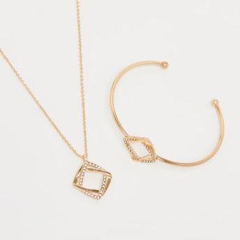 Studded Necklace and Adjustable Bracelet Set