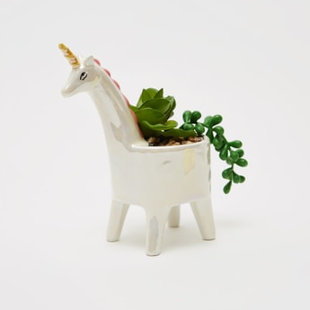 Unicorn Planter with Plant