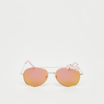 Ombre Shaded Sunglasses with Flower and Butterfly Accent