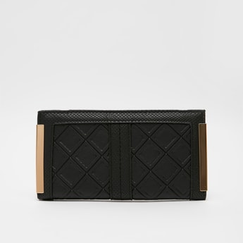 Textured Bi-Fold Wallet with Press Button Closure