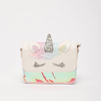 Applique Detail Crossbody Bag with Strap and Magnetic Snap Closure
