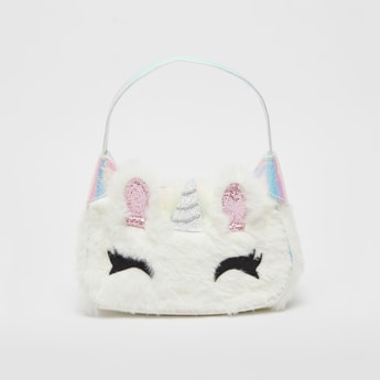 Textured Handbag with Applique Detail