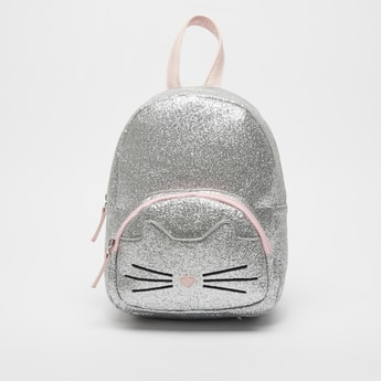 Glitter Backpack with Adjutable Shoulder Straps and Zipper Closure