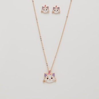 Unicorn Cat Pendant Necklace and Earrings Set