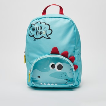 Dino Themed Backpack with Shoulder Straps and Zipper Closure