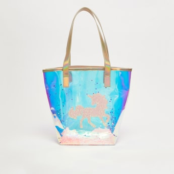 Printed Transparent Tote Bag with Short Handles