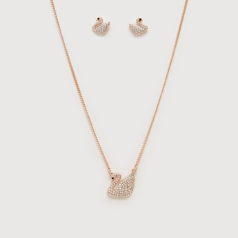 Studded Swan Pendant Necklace and Earrings Set