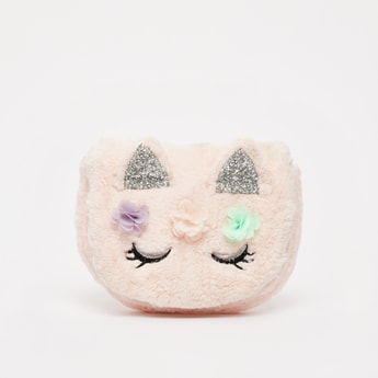 Kitty Face Plush Crossbody Bag with Glitter Finished Ear Appliques
