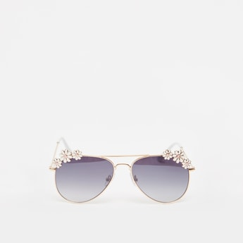 نظارة شمسية بإطار كامل ووسادات أنف وزخارف أزهار