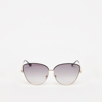 نظارة شمسّية عين قطة سادة بإطار كامل ووسادات أنف
