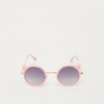 Full Rim Round Metal Sunglasses with Nose Pads