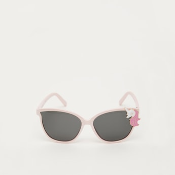 Full Rim Plastic Sunglasses with Unicorn Accent and Nose Pads