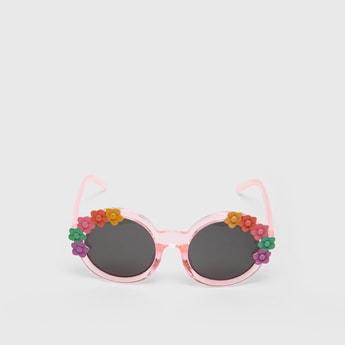 Full Rim Flower Applique Detail Sunglasses