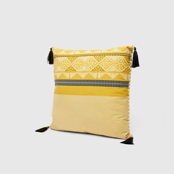 Printed Square Filled Cushion with Tassel Detail - 45x45 cms