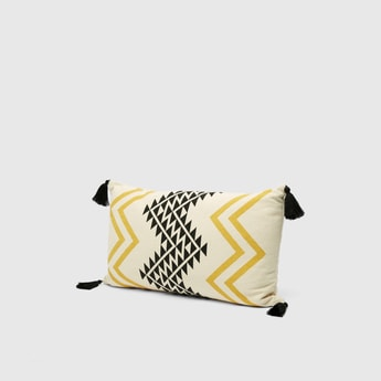 Chevron Print Filled Cushion with Tassel Detail - 50x30 cms