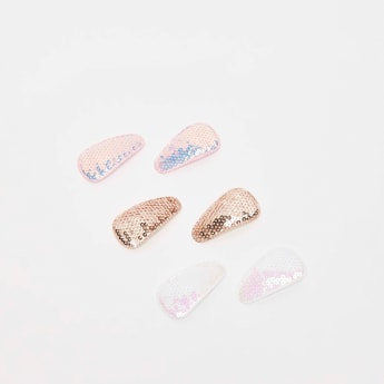 Set of 6 - Assorted Sequinned Tic Tac Clips