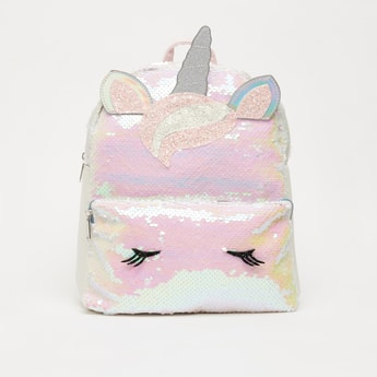 Unicorn Sequin Detail Backpack with Zip Closure