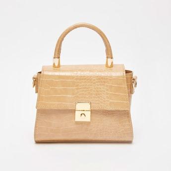 حقيبة يد بارزة الملمس بجلد الزواحف مع حزام قابل للتعديل