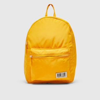 Solid Backpack with Adjustable Straps and Zip Closure